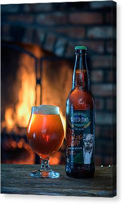 Old Howling Bastard Barleywine By The Fire Canvas Print by Rick Berk