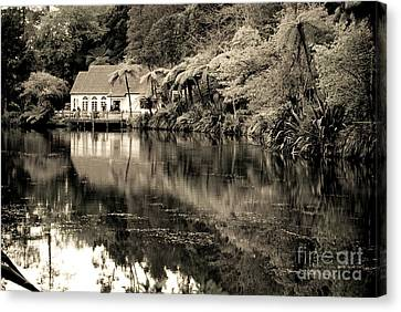 Canvas Print featuring the photograph Old Hut By The Bush Lake by Yurix Sardinelly