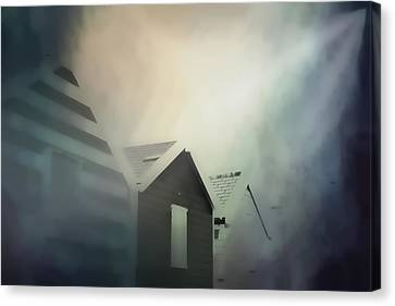 Old Huts In The Mist - Digital Watercolour Canvas Print by Tom Gowanlock