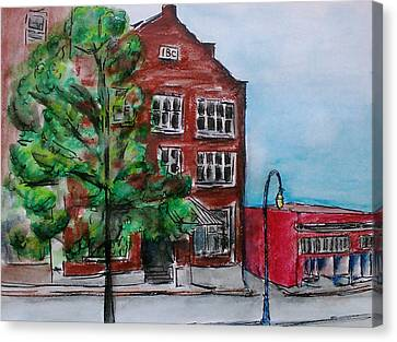 Old Ibc Building In Downtown Port Angeles Canvas Print