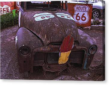 Old Ice Cream Sign On Old Truck Canvas Print by Garry Gay