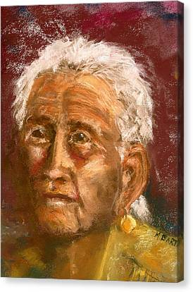 Canvas Print featuring the pastel Old Indian by Marilyn Barton