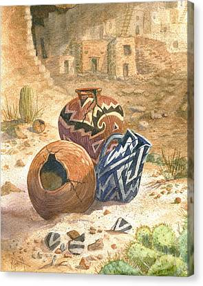 Canvas Print featuring the painting Old Indian Pottery by Marilyn Smith