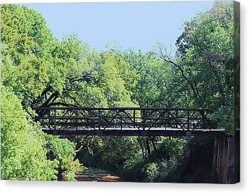 Canvas Print featuring the photograph Old Iron Bridge Over Caddo Creek by Sheila Brown