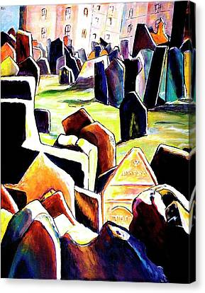 Old Jewish Cemetary In Prague Canvas Print by Miki  Sion