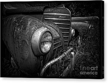 Abandoned Cars Canvas Print - Old Junkers Black And White by Edward Fielding