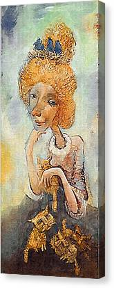 Old Lady With Cats Canvas Print by Art4sale