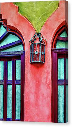 Canvas Print featuring the photograph Old Lamp Between Windows by Gary Slawsky