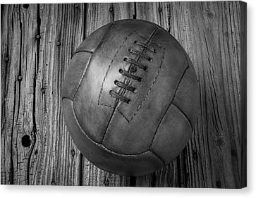 Old Leather Football Black And White Canvas Print by Garry Gay