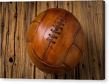 Old Leather Football Canvas Print by Garry Gay