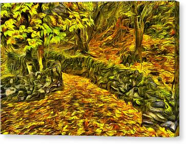 Walkway Canvas Print - Old Liberty Park In Autumn by Mark Kiver