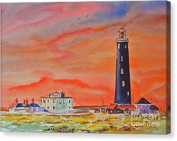 Canvas Print featuring the painting Old Light House - Dungeness by Beatrice Cloake