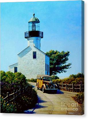 Old Lighthouse Point Loma Canvas Print by Frank Dalton