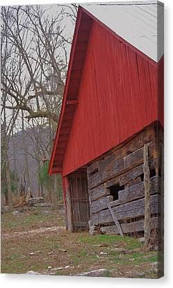 Canvas Print featuring the photograph Old Log Barn by Debbie Karnes