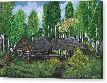 Canvas Print featuring the painting Old Log Cabin And   Memories by Sharon Duguay