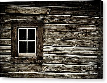 Canvas Print featuring the photograph Old Log Cabin by Brad Allen Fine Art