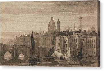 Old London Bridge And St. Paul's Cathedral From The Thames Canvas Print by David Cox