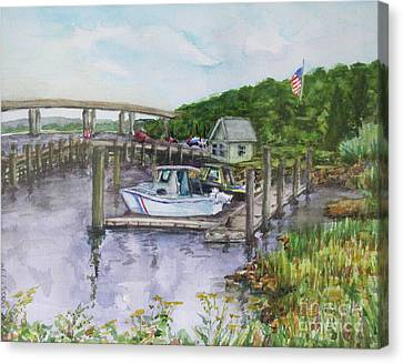 Old Lyme Boat Yard At The Dep Canvas Print by B Rossitto