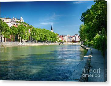 Old Lyon Viewed From The Saone River Canvas Print
