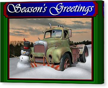 Old Trucks Canvas Print - Old Mack Christmas Card by Stuart Swartz