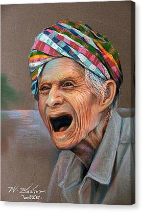 Canvas Print featuring the painting Old Man by Chonkhet Phanwichien