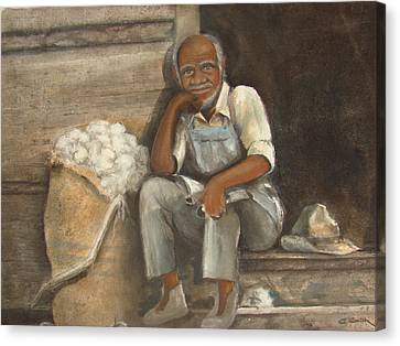 Old Man Cotton Canvas Print by Charles Roy Smith