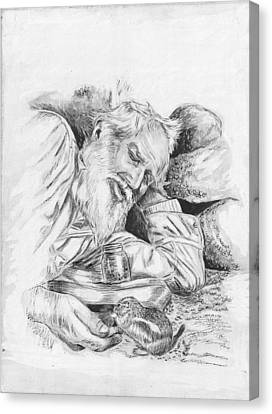 Old Man Feeding Chipmunk Canvas Print by Samuel Showman