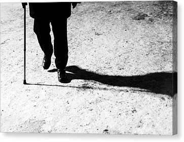 Old Man His Walking Stick And His Night Shadow Canvas Print by John Williams