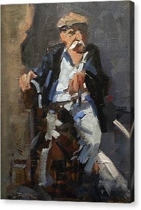Old Man On A Child Canvas Print by David Simons