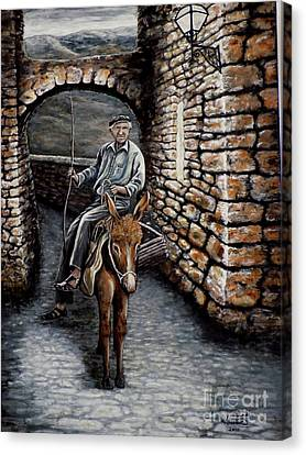 Old Man On A Donkey Canvas Print by Judy Kirouac