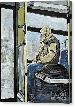 Old Man On The Bus Canvas Print by Reb Frost
