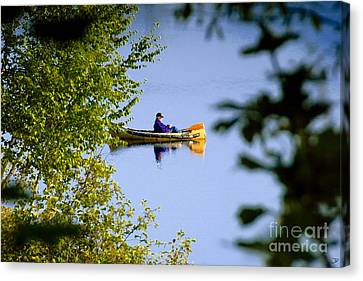 Old Man On The Lake Canvas Print by David Lee Thompson