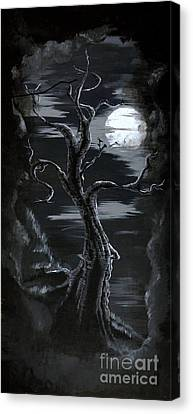Old Man Tree And Goddess Moon Canvas Print