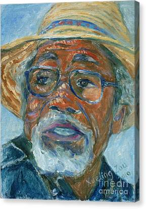 Old Man Wearing A Hat Canvas Print by Xueling Zou
