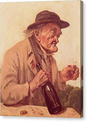 Real Experiences Canvas Print - Old Man With A Glass Of Wine by Gustave Courbet