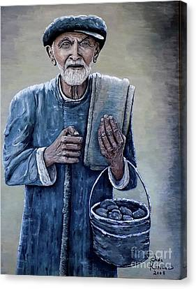 Old Man With His Stones Canvas Print by Judy Kirouac