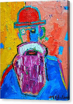 Old Man With Beard Canvas Print - Old Man With Red Bowler Hat by Ana Maria Edulescu