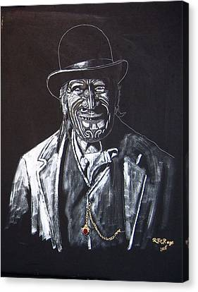 Canvas Print featuring the painting Old Maori Tane by Richard Le Page