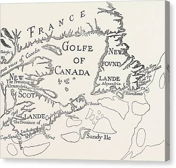 Old Map Of Acadie  Canada Canvas Print