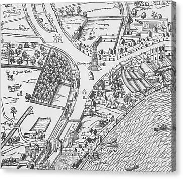 Old Map Of Charing Cross Canvas Print