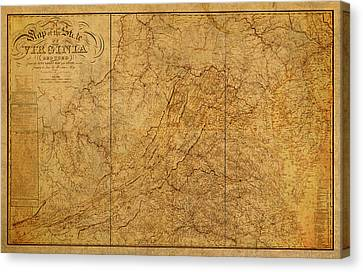 Old Map Of Virginia State Schematic Circa 1859 On Worn Distressed Parchment Canvas Print by Design Turnpike