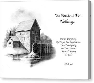 Old Mill In Pencil With Bible Verse Canvas Print by Joyce Geleynse