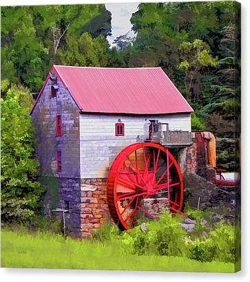 Old Mill Of Guilford Painted Square Canvas Print by Sandi OReilly