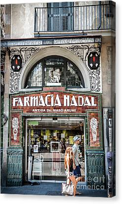 Old Modernist Pharmacy In Barcelona Canvas Print by RicardMN Photography