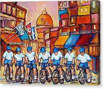 Old Montreal Bike Race Tour De L'ile Canadian Scene Painting Montreal Art Carole Spandau             Canvas Print by Carole Spandau