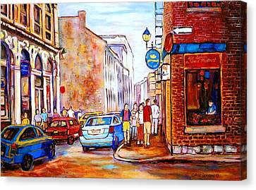 Old Montreal Paintings Calvet House And Restaurants Canvas Print by Carole Spandau