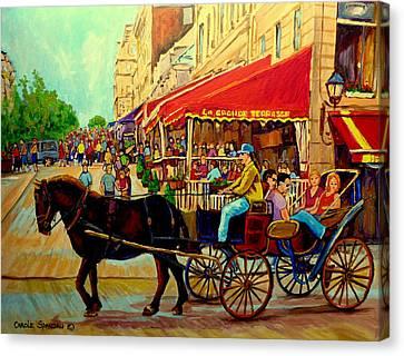 Old Montreal Restaurants Canvas Print