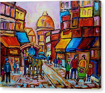 Old Montreal Rue St. Paul And Bonsecour Market Canvas Print by Carole Spandau