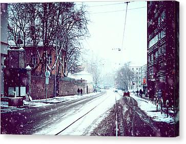 Old Moscow Street. Snowy Days In Moscow Canvas Print by Jenny Rainbow