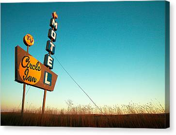 Vintage Sign Canvas Print - Old Motel Neon by Todd Klassy